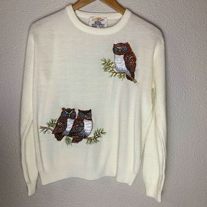 ✂️$120 Vtg Shirlee embroidered Owl knit Sweater L